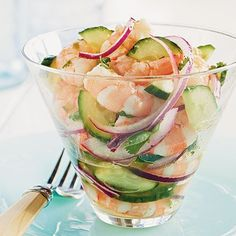 This pretty shrimp ceviche-style dish makes for a delicious warm-weather appetizer. In this recipe, the shrimp are cooked until just...