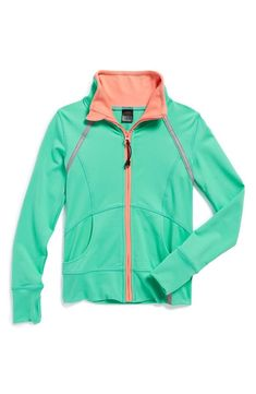 Cute green and coral athletic jacket for the weekends.