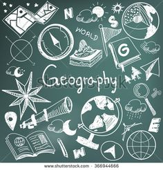 Geography and geology education subject chalk handwriting doodle icon of earth exploration and map design sign and symbol in blackboard background paper used for presentation title header (vector)