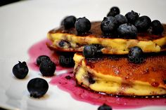 Blueberry Pancakes with blueberry syrup.  Sugar Rush!