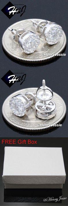Earrings Studs 14085: Men 925 Sterling Silver 8Mm Lab Diamond Iced Round Screw Back Stud Earring*E143 -> BUY IT NOW ONLY: $17.99 on eBay!