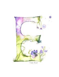 Letter E Watercolor Monogram Flower by MilkandHoneybread on Etsy