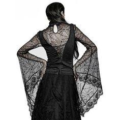 Black Cobweb Lace Long Kimono Sleeve Gothic Vampire Turtleneck Top SKU-11409412