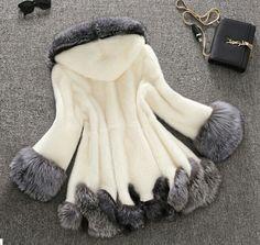 Super cute faux & silver fox fur hoody