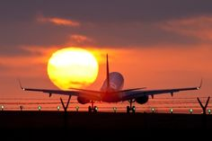 Southwest Airlines arriving at sunset at LAX