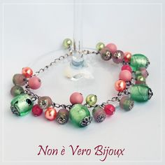 Candy color charms bracelet - rose peach and peridot glass beads