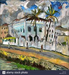 The Sultan's Palace In Zanzibar 1944 Irma Stern African 1894 - 1966 Stock Photo, Royalty Free Image: 71608504 - Alamy Sultan Palace, Alberto Giacometti, South African Artists, Paintings I Love, Art For Art Sake, Watercolor Portraits, Great Pictures, Free Image, Exterior