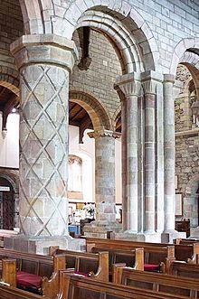 St Mary's Church, Kirkby Lonsdale -  Norman columns in the north arcade