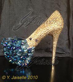 Crystal Heels with Embellished Toe by yhasminae on Etsy, $465.00