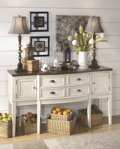 - Description - Dimensions - More Info Ashley Furniture Whitesburg Dining Room Server With the warm two-tone look of the cottage white and burnished brown finishes beautifully accenting the stylish co More