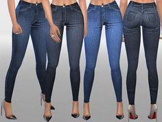 The Sims Resource: Indigo High Waist Skinny Jeans by Pinkzombiecupcake • Sims 4 Downloads