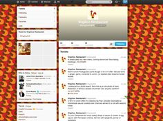 The @virgiliosGrill Twitter page - including background design and profile pic. All part of the rebrand project!
