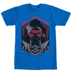 Take over Episode VII with First  style and the Star Wars Kylo Ren Rule the Galaxy Heather ROYAL Blue T-Shirt. Rule the Galaxy is  in slightly distressed style above Kylo Ren and TIE fighters on the front of this villainous blue Star Wars Episode 7 t