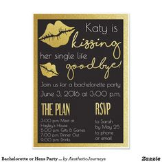 Bachelorette or Hens Party invite- The bride is kissing her single life goodbye! Click through to customize the file right online. Or shop our 100s of designs for weddings, bachelorettes, birthday parties, and more. Only at Aesthetic Journeys