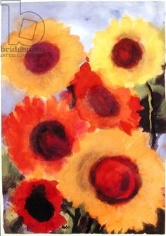 Red and Gold Sunflowers (w/c on paper) / Emil Nolde