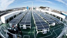 Energia eolica in mare: la nave mercantile Vindskip.I pannelli solari sul ponte della Nichioh Maru, una delle nuove navi ibrido solare-deisel Nissan (Wind Power at Sea: The Vindskip Merchant Ship)