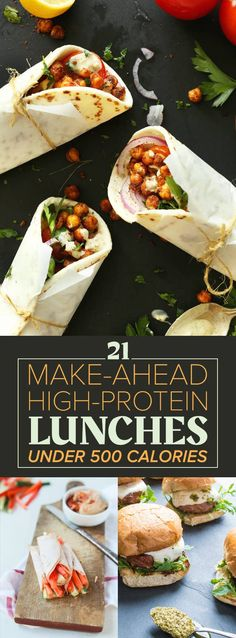 High-Protein Lunches Under 500 Calories Cook these big batch recipes once and eat them for the rest of the week.Cook these big batch recipes once and eat them for the rest of the week. High Protein Snacks, High Protein Meal Prep, Protein Lunch, High Protein Low Carb, High Protein Recipes, Protein Foods, Healthy Dinner Recipes, Healthy Snacks, Vegetarian Recipes