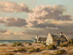 Otto Klar (SA 1908 - Oil, Coastal Landscape with Cottages & Figures Modern Coastal, Coastal Farmhouse, Coastal Cottage, Coastal Homes, Coastal Decor, Coastal Style, Coastal Curtains, Coastal Bedding, Coastal Chandelier