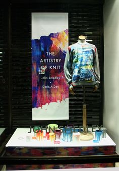 Created by Tenn Ltd For John Smedley - The Artistry Of Knit Window. Painterly Graphic Banner And Hand Dripped Paint Pots