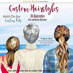 Custom Hairstyles Clipart Womans Hair Clipart Customizable | Etsy Short Ponytail, Long Ponytails, Blonde Pixie, Dark Blonde, Watercolour Hair, Hair Clipart, Friends Clipart, Hair Png, Tight Curls