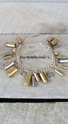 Bullet Bracelet/ brass/ nickel/ Swarovski crystals/nine mm/ twenty twos by RepurposedRounds on Etsy