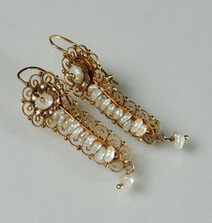 62c62946bcda Antique gold gusano (worm) earrings from Mexico. Joyería Mexicana