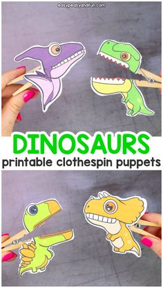 Dinosaurs Clothespin Puppets - Printable Paper Craft - Easy Peasy and Fun - Pri. Dinosaurs Clothespin Puppets - Printable Paper Craft - Easy Peasy and Fun - Printable Dinosaurs Clothespin Puppets for Kids - Dinosaurs Preschool, Dinosaur Activities, Preschool Crafts, Diy Crafts For Kids, Easy Crafts, Craft Ideas, Dinosaur Crafts Kids, Free Preschool, Dinosaurs For Kids