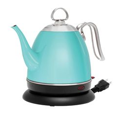 New Color for 2017 in our Mia Electric Kettle - Aqua Finish! All stainless steel body, no plastic interior. Dual function kettle - perfect for slow pour coffee but also as an everyday kettle. Stainless Steel Kettle, Stainless Steel Dishwasher, Brushed Stainless Steel, Aqua Kitchen, Kitchen Ware, Kitchen Dining, Cord Storage, Recycling Programs, Ceramic Teapots