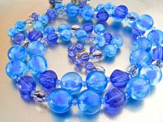 ALICE CAVINESS Blue Beaded Necklace Earrings Set Glass &