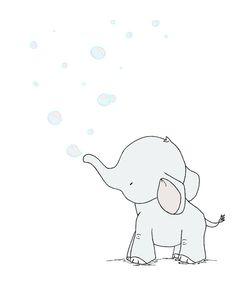 Elephant Nursery Art Print -- Elephant Bubbles More