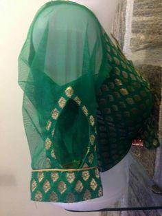 For my green Saree Kurti Sleeves Design, Sleeves Designs For Dresses, Sleeve Designs, Saree Blouse Neck Designs, Saree Blouse Patterns, Stylish Blouse Design, Blouse Models, Sarees, Green Saree