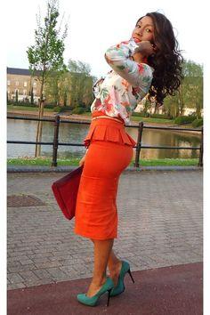 Tangerine Peplum Skirt, gorgeous blouse & pumps!! LOVE IT ALL