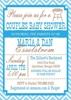 Couple Baby Shower Invitation why don't more people do this? I don't understand??? It's the guys baby too! Baby showers would be better this way!
