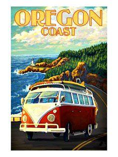vintage travel ad for oregon coast - cool VW van