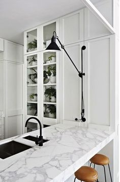 A Kitchen Look We Love: Black + Marble