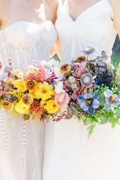 """From the editorial, """"A Visually Stunning Celebration Paying Tribute To Pride"""". Just one look at the rainbow flowers hanging above a table covered in a floral runner of rainbow blooms all dreamed up by @theposhposey will have you falling in love. 