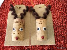 Wine Cork Reindeer Gift Tags set of 4 holiday Christmas Decor Wrapping Rudolph red Glitter nose Gold ribbon Squiggly Eyes Chipboard tags by CanvasCoveArt on Etsy