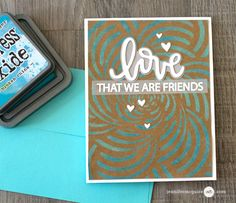 Tim Holtz Distress Oxide Inks, kraft cardstock, Hero Arts Spiral Petals Stencil, Neat and Tangled Love Notes Die and Neat and Tangled Love Notes Stamp Set: Introduction to Distress Oxide Inks (+ Many Cards) Jennifer McGuire Ink