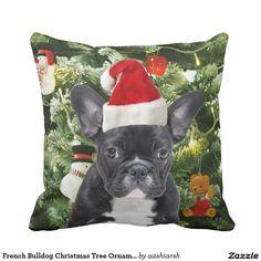 #FrenchBulldog #Christmas Tree #Ornaments #Snowman Throw #Pillow