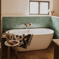 Moroccan Bathroom, Eclectic Bathroom, Boho Bathroom, Bathroom Renos, Bathroom Styling, Bathroom Flooring, Bathroom Interior Design, Spanish Bathroom, Green Tile Bathrooms