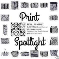 Thirty-One Gifts Print spotlight Medallion Medley Black and White Organization www.mythirtyone.com/bethturner31