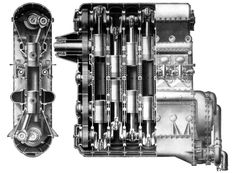 Junkers Jumo 204 Double acting six-cylinder diesel This engine was manufactured by Napier's under licence from Junkers Flugmotoren in 1934 & was called the Napier Culverin. The cylinders each had two pistons driving crankshafts top & bottom. Aircraft Engine, Combustion Engine, Diesel, Aviation, Engineering, Airplanes, Bike Ideas, Steampunk, Garage