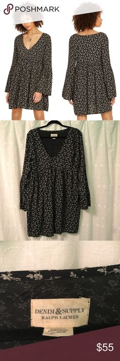 RL Denim & Supply Floral Bell Sleeve Dress Adorable floral printed bell sleeve dress from Ralph Lauren Denim & Supply. Size large. Excellent pre worn condition! No trades or try ons. Denim & Supply Ralph Lauren Dresses