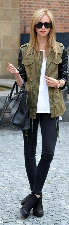 Cute for fall. Leather sleeves on olive coloured jackets with skinny jeans and booties.
