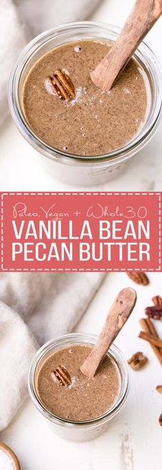 This Vanilla Bean Pecan Butter is incredibly smooth and easy to make. The buttery pecans blend up quickly into a creamy nut butter that you'll want to spread on everything! Cinnamon and vanilla beans complement the pecans wonderfully in this Paleo, vegan, and Whole30-approved snack.