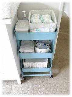 Baby Room Organization Ikea Raskog Cart Ideas For 2019 Baby Storage, Nursery Storage, Nursery Organization, Storage Ideas, Organization Ideas, Diaper Storage, Diaper Organization, Baby Clothes Storage, Storage Cart