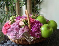 Canasta con manzanas, Arreglos florales en el DF