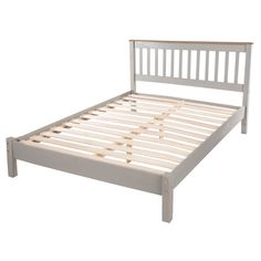 Corina double size slatted bed in grey washed wax finish - 41114 buy wooden bed frames & handmade wooden beds with storage, modern & contemporary.