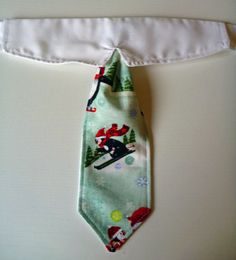 Shirt Collar & Neck Tie - Christmas Shirt Collar - Skiing Penguin by katiesk9kollars on Etsy