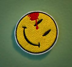 Watchmen Symbol - Iron-on Embroidered Smiley Face Patch. $5.00, via Etsy.